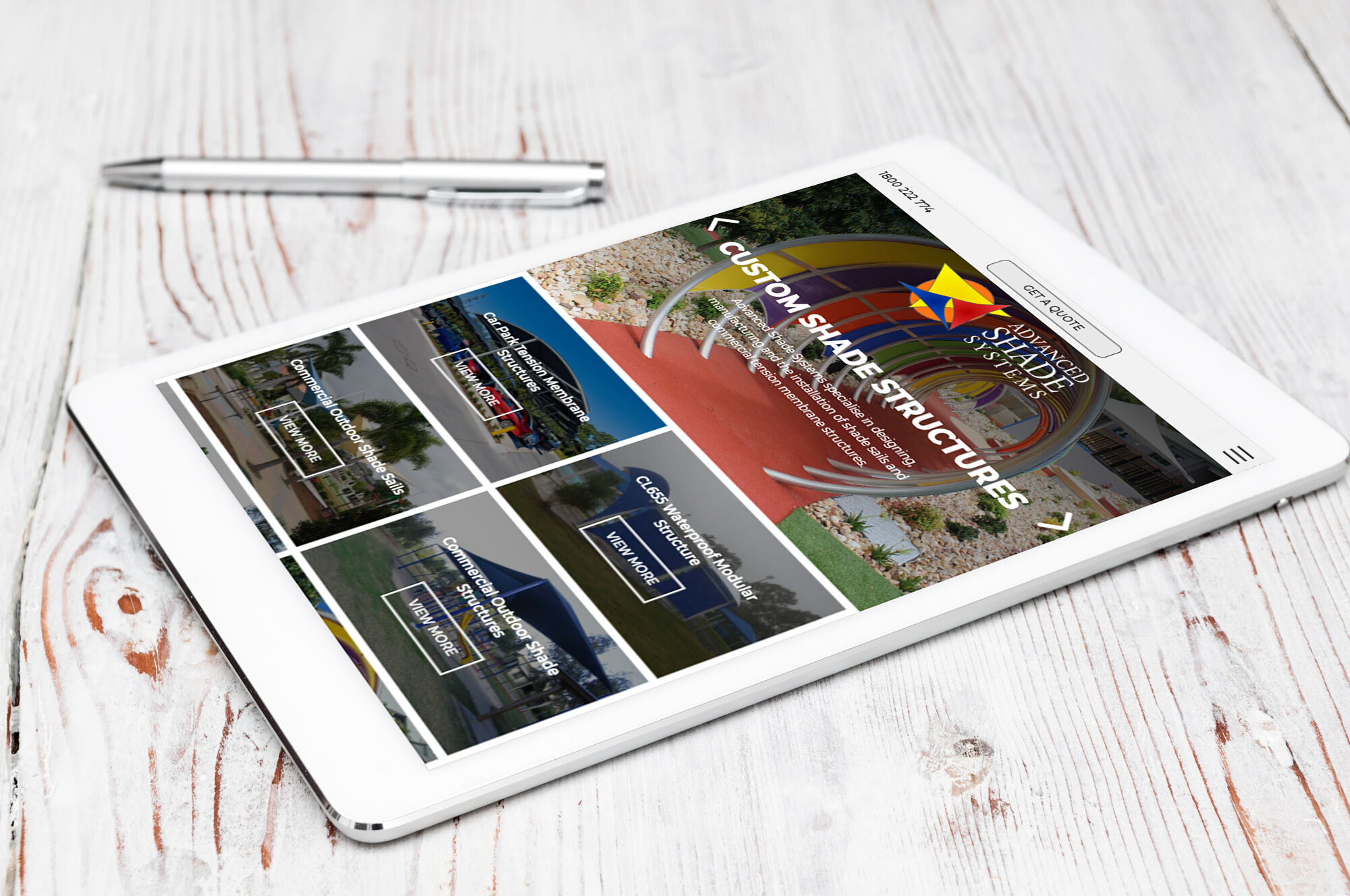 Advanced Shade Systems iPad view