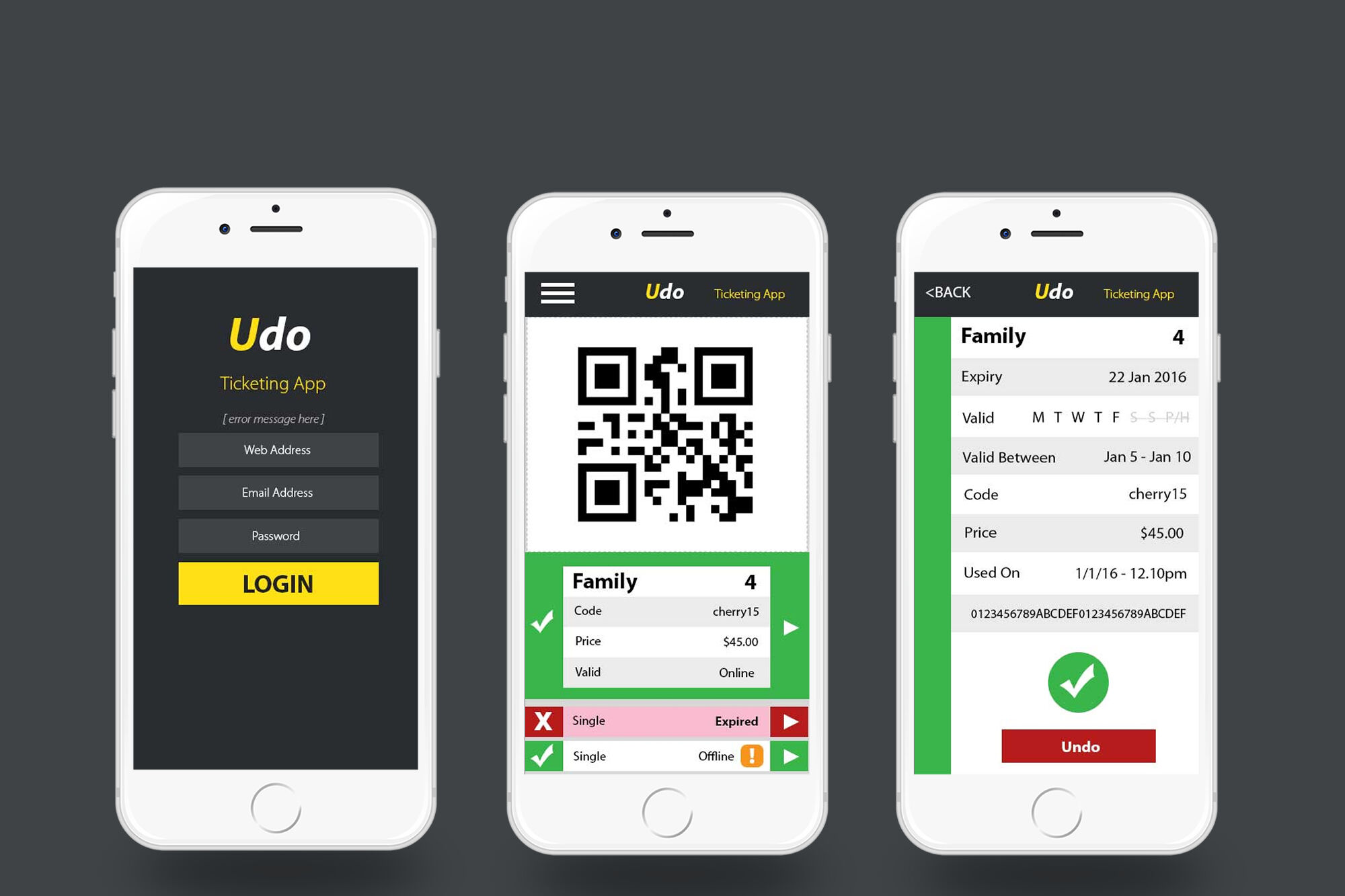 Mobile Ticket validation app on iPhone